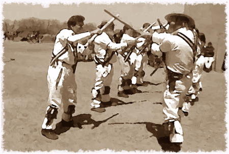 Morris Dancing is a very old style of dance from England.  This picture just looks old.