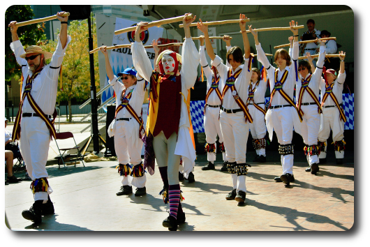 The Maroon Bells Morris Dancers performing the morris dance                          'Vandals of Hammerwich'